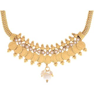 Awww Small and long White pearl dangler Temple coin Necklace Set with Earring for Women