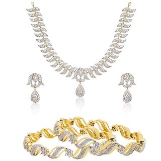 Awww Precious American Diamond Necklace Set  Bangles Combo Set For Women