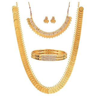 Awww Gold Plated Brass Bangles, Long Traditional Maharani Temple coin and White Temple Coin Necklace Set for Women