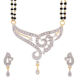 Awww American Diamond Gold Plated Signature Collection Mangalsutra with Chain for Women