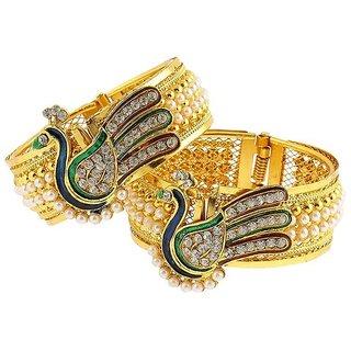 Awww Dancing Peacock American Diamond Bangles / Kada Jewellery For Women / Girls