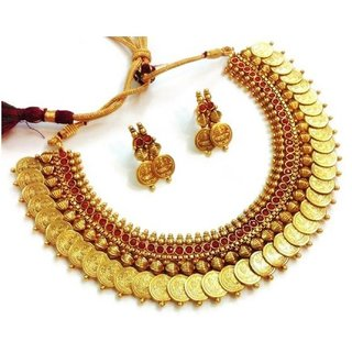 Awww Traditional Red Temple coin Necklace Set with Earrings for Women  Girls