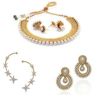Awww Combo of Pearl Necklace, Earrings  Elegant EarCuff Jewellery for Women and Girls