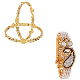 Awww Temple Coin Gold Plated Bangles  Peacock Design Kada Combo Set for women