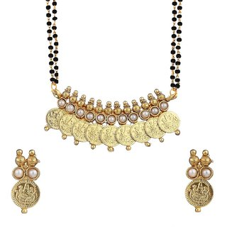 Awww Womens Pride White Temple Coin Mangalsutra Pendant with Chain and Earrings for Women