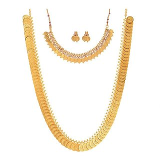 Awww Long Traditional Maharani Temple coin  White Temple Necklace Set for Women
