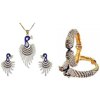 Awww gold Metal Combo Of Dancing Peacock Bangle Set And Pendant With Chain And Earrings Jewellery For Women