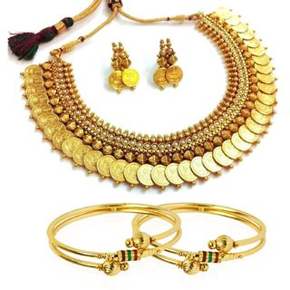Awww Trendy Combo White Temple Coin Necklace and Bangle Set for Women