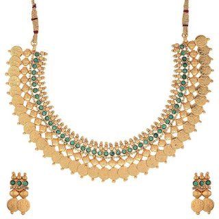 Awww Green Traditional Temple Coin Necklace Set with Earrings for Women / Girls