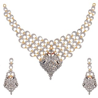 Awww American Diamond Peacock Design Gold Plated Necklace Set For Women