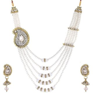 Awww White Pearl Gold Plated Necklace with Earrings For Women / Girls