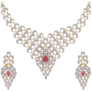 Awww American Diamond Gold Plated Jewellery Set with Earrings For Women / Girls