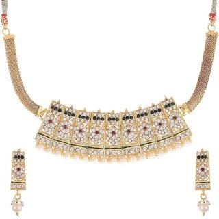 Awww White Pearl American Diamond Chokar Necklace Set with earring for Women