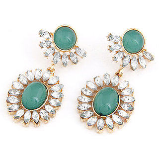 Shining Diva Non Plated Green Dangle Earrings For Women-CFJ6926er