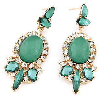 Shining Diva Non Plated Green Dangle Earrings For Women-CFJ6972er