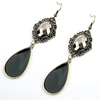Shining Diva Non Plated Black Dangle Earrings For Women-CFJ7001er