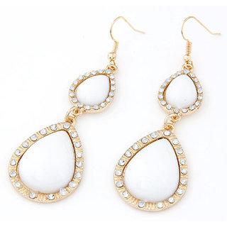 Shining Diva Non Plated White Dangle Earrings For Women-CFJ7003er