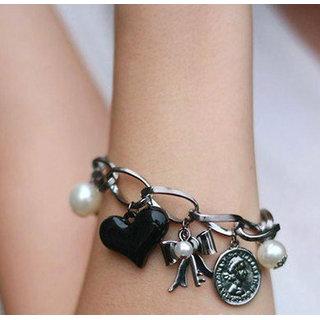 Shining Diva Non Plated Black Charm Bracelets For Women-CFJ6854b