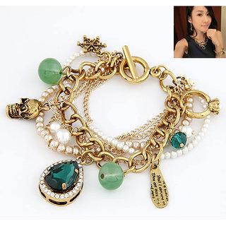 Shining Diva Non Plated Green Charm Bracelets For Women-CFJ6856b