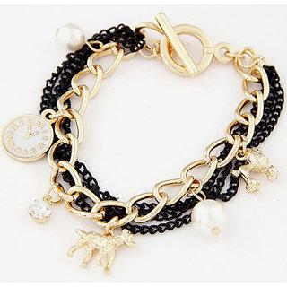 Shining Diva Non Plated Black Charm Bracelets For Women-CFJ7068b