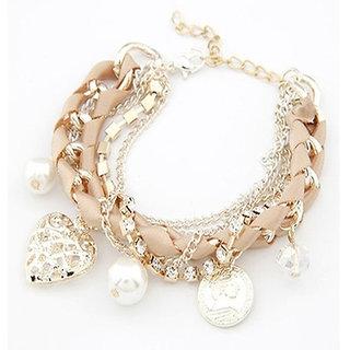 Shining Diva Non Plated Peach Charm Bracelets For Women-CFJ7147b