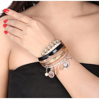 Shining Diva Non Plated Black Bangles For Women-CFJ7157b