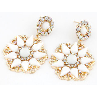 Shining Diva Non Plated White Dangle Earrings For Women-CFJ7010er