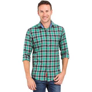 CROSSCREEK Aqua Checked SlimFit Fullsleeves Cotton Casual Shirt