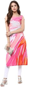 Janasya Multicolour Crepe Printed Party Wear Kurti