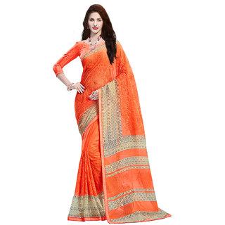 Sanwara Orange Chiffon Embroidered Saree With Blouse