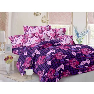 Valtellina Cotton Floral Purple Double Bedsheet with 2 Contrast Pillow Covers(TC-129)