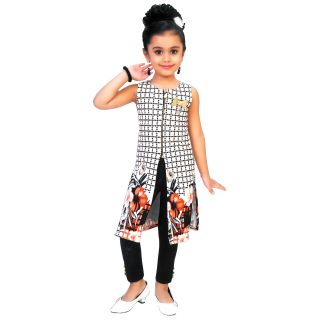 Cape Dress for girls Kids  - Off-White Black- imported fabric - flower print - Partywear - Readymade - 3 - 7 Years