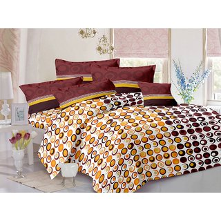 Valtellina Cotton Polka Brown Double Bedsheet with 2 Contrast Pillow Covers(TC-129)