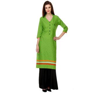 Aamii Green Cotton Round Neck 3/4th Sleeve Printed Kurti
