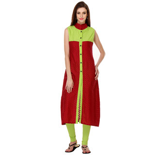Aamii Red Cotton Round Neck 3/4th Sleeve Printed Kurti
