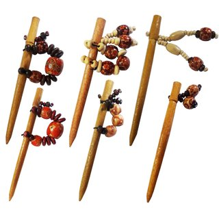 Wooden Handmade Stylish Beads Hair Stick Set of 6