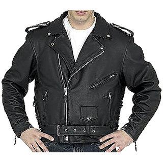 Men's Black Leather Regular Fit Biker Jacket - JG336