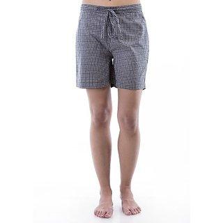 Amadore Checkered Womens Black Basic Shorts