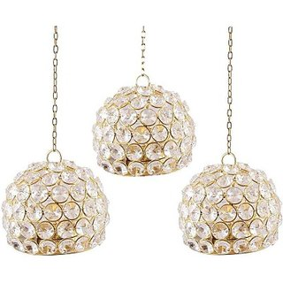 Inspiration World Crystal Hanging Ball Iron 3 - Cup Tealight Holder Set