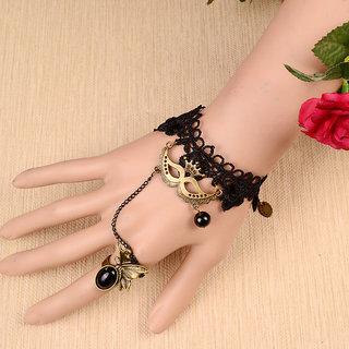 Shining Diva Non Plated Black Charm Bracelets For Women-CFJ7379b