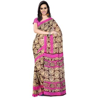 SuratTex Brown Georgette Printed Saree With Blouse