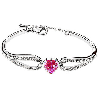 Shining Diva Non Plated Pink Charm Bracelets For Women-CFJ7899b