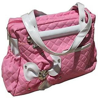 Stylish Ladies Handbag - Pink  White