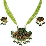 Green Designer Meenakari Brass Necklace Set -116