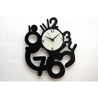Panache Aluminium Wall Clock -Pan017 3 to 12 (Black)