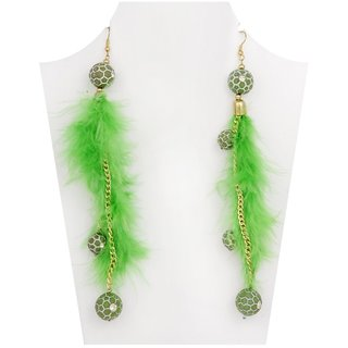 WOAP Designer Earring in Green Colour with Green Football (WFER-10116)