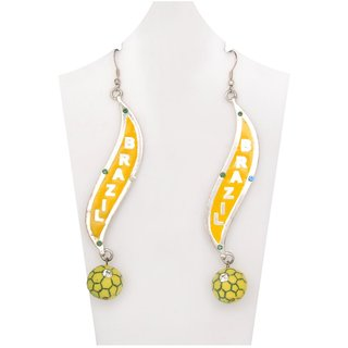WOAP Designer Earring in Yellow Colour with Yellow Football (WFER-10262)