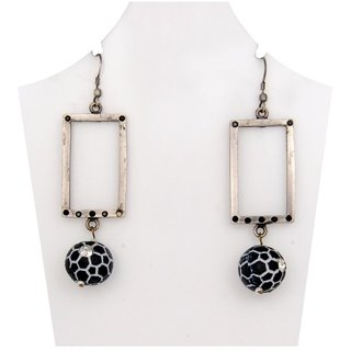 WOAP Designer Earring in Black Colour with Black Football (WFER-10266)
