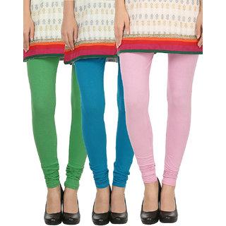 Awadh Enterprises Pink, Green  Blue Cotton Solid Leggings Pack Of 3