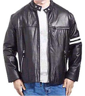 Men's Black Leather Regular Fit Biker Jacket - JG245